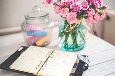 主催者, 手帳, 私的な日記, メモ, 花, ピンク, ビンテージ, メモ帳, プランナー, クローズアップ