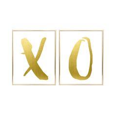 MAILED GOLD FOIL Prints X O 5x7 8x8 or 8x10 2 by DearLilyMaeShop
