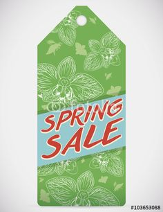 Spring Sale Tag with Floral Design Isolated Spring Sale, Illustration, Orchids, Floral Design, Tags, Floral Patterns, Illustrations, Mailing Labels, Orchid