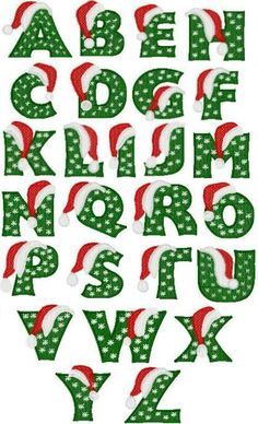 Santa Hat Alphabet hoop size (jef, pes, and hus formats Christmas Alphabet, Christmas Fonts, Christmas Templates, Christmas Design, Christmas Printables, Christmas Art, Commercial Embroidery Machine, Hand Lettering Alphabet, Letter Stencils
