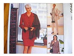 McCalls Sewing Pattern 8400 Misses Lined Jacket, Lined Vest, Skirt Pants Scarf Mccalls Sewing Patterns, Vintage Sewing Patterns, Line Jackets, Skirt Pants, Sewing Stores, Vest Jacket, Fabric Design, Skirts, Shopping