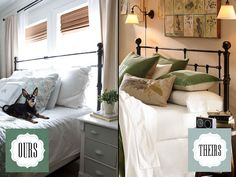 The blog The Lettered Cottage has a before and after makeover of a JCPenney headboard(can of bronze spray paint) to make it look rather like the Pottery Barn Headboard,but for almost nine hundred less...
