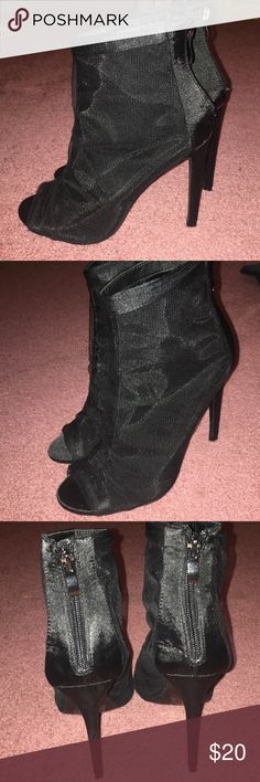 58db5da239d Fashion Nova size 7.5 black mesh heeled booties. Never worn. Only tried on.