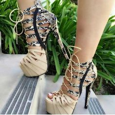 Shoespie Snake Effect Open Toe Platform Heels
