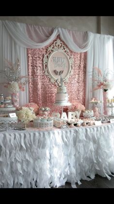 Baby Shower Ideas for Girls Decorations Table . Best Of Baby Shower Ideas for Girls Decorations Table . Boho Chic Baby Shower Party Ideas In 2019 Babyshower Party, Baby Party, Baby Shower Parties, Baby Shower Themes, Shower Ideas, Baby Shower Backdrop, Dessert Stand, Gold Baby Showers, Ballerina Baby Showers