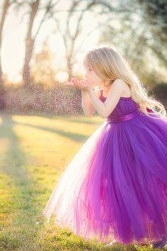 So Lovely... Lovely Sleeveless Purple Tulle Princess Flower Girl Dress Princess