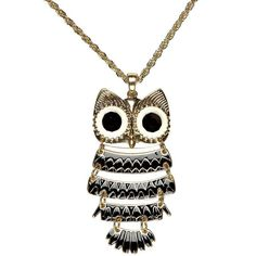 River Island Gold Tone Owl Long Necklace ($13) ❤ liked on Polyvore