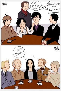 Elementary vs Sherlock. Everyone is mean to Johnny Lee-Holmes, but the Watsons admiring Lucy Lui-Watson is hilarious! Haha! Love it. Artwork by Macho Machi.