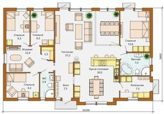 Майя - одноэтажный каркасный дом на четыре спальни 9х16