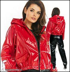 Rain Fashion, Red Leather, Leather Jacket, Vinyl Raincoat, Lipstick, Jackets, Outfits, Beautiful, Black