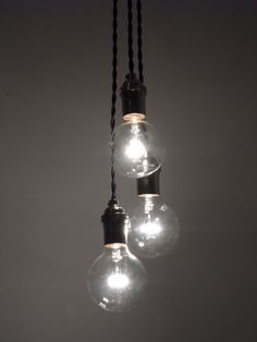Staggerd 3 Hanging Edison Bulb - Modern Industrial Chandelier- Hardwired Fixtrue - 1,3,5, 7 Blub Cluster - Antique Twisted Cord