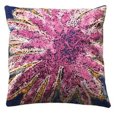 """Handmade RADOST Throw Pillow $54 * ENERGY BLAST (PINK) * Removable insert; washable cover * Material: Minky (100% polyester) * Dimensions: 16"""" high x 16"""" wide * Pillow cover care instructions: Machine wash cold and line dry; do not bleach."""