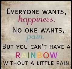 You can't see the rainbow without first encountering the rainstorm.