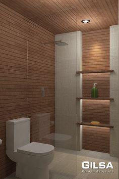 Cuarto de baño de estilo clásico. Materiales utilizados: (En Muro y Techo): Porcelanato Listón Cognac Oxford 31.6x90 de Porcelanosa; (en Piso): Porcelanato Tempo Dune 60x60 de Firenze