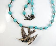 Hummingbird necklace by jewelryandmorebykat on Etsy