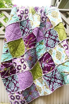 I am so in love with this fabric......Joel Dewberry Aviary 2 in 'Lilac' Crib Rag Quilt.