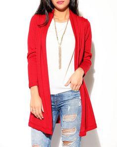 red cardigan women's fashion womens clothing by knitfashionable
