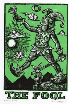 The Fool Tarot Linocut Art Print by HorseAndHare on Etsy, $25.00