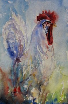 White Leghorn Rooster Print of my Original Water Color by myazel, $29.00