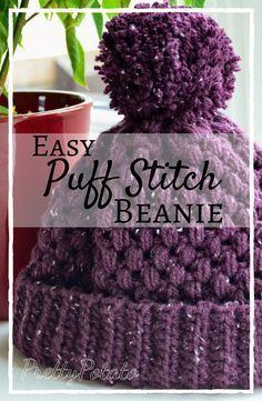 Easy crochet puff stitch beanie, can be worn as a pom pom beanie or a slouchy beanie!