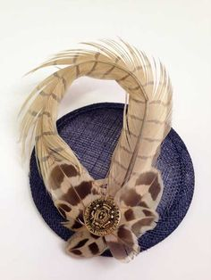 Pheasant feather fascinator – navy & gold