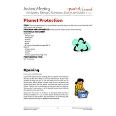 Planet, Protection, Environment, Global Warming, Instant Meeting, Meeting Plan, Challenge Kit, Program Planning, Meeting Ideas, Girl Guides, Girl Scouts, Girl Scout Activities, Camp Ideas