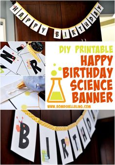 I LOVE this FREE printable science themed Happy Birthday banner!  PERFECT for a science birthday party!