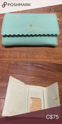 Tiffany blue scalloped hem Kate Spade wallet Tri-food wallet in Tiffany Blue from Kate Spade.