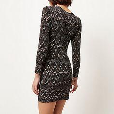 Black sparkly zig zag bodycon dress $90