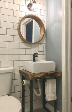 Live Edge Vanity Base Vessel Sink Subway Tile Perfect Combination In 2019 Bathroom Sink