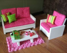"American Girl sized Living Room / 18"" Doll Furniture - Loveseat / Chair / Coffee Table / Rug - Pink / Green - APRIL SHIPPING"