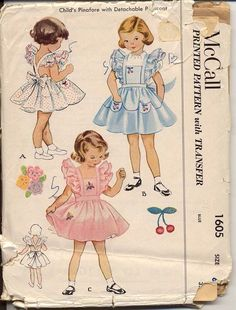 Vtg 1951 McCall's Toddler Girl's Pinafore w/Detachable Petticoat Pattern Size 4 Childrens Sewing Patterns, Baby Clothes Patterns, Vintage Dress Patterns, Clothing Patterns, Moda Vintage, Vintage Mode, Vintage Outfits, Vintage Dresses, Vintage Clothing