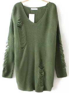 Армейский зелёный рваный свитер с V-образным вырезом  1357