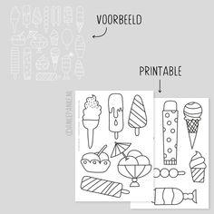 Zomer ijsjes raamtekening Bullet Journal Inspiration, Diy For Kids, Summer Fun, Doodles, Window Drawings, Graphic Design, Prints, Cards, School Stuff