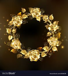 Wreath of Gold Roses Royalty Free Vector Image Gold And Black Background, Black Background Wallpaper, Rose Background, Cute Wallpaper Backgrounds, Cute Wallpapers, Black Backgrounds, Apple Logo Wallpaper Iphone, Framed Wallpaper, Attractive Wallpapers