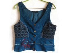 Dark Blue Vest by Gudrun Sjoden Cotton Wool Waistcoat Women's Vest M size Embroidered Vest Patchwork Vest Everyday Clothing by Vintageby2sisters on Etsy