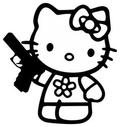 "Hello Kitty Gun Vinyl Decal 11"" Outdoor / Indoor Sticker * Your Choice Of Color"