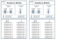 leçon MATHS 2 completee double moitié CE1 Le Double, Bullet Journal, Exercise, Teaching, Ticket, Fresh, Learning Multiplication Facts, Montessori Education