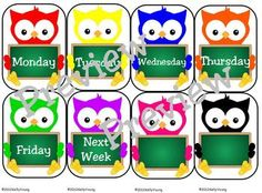 ~FREE~ Labels for the days of the week. Can be used to label teacher boxes or student work holders....