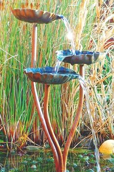 Copper garden sculpture Copper Flower Stakes Beautiful Hand
