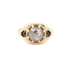 Three Diamond Shield Ring — Lauren Wolf Jewelry