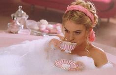 bath with a cup of tea