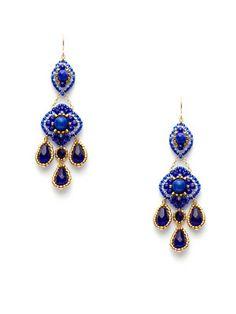 Miguel Ases Blue Bead & Jade Double Drop Chandelier Earrings