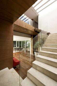 minimalist interior design of AE House - granite stairs Marble Stairs, Stone Stairs, Granite Stairs, House Staircase, Modern Staircase, Modern Architecture House, Interior Architecture, Interior Design, Villa