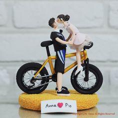 Bike mania couple custom wedding cake topper gift by annacrafts, $260.00