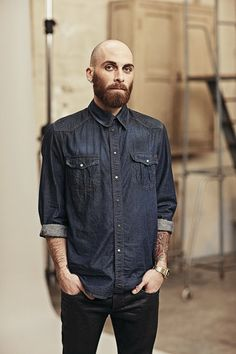 60a8de005d8c Denim Bald guy Look Book Homme, Best Beard Styles, Bald Men With Beards,