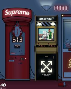 Supreme x Off - White // Hypebeast Wallpapers // Hypebeast Iphone Wallpaper, Dope Wallpaper Iphone, Hype Wallpaper, Screen Wallpaper, Wallpaper Backgrounds, Summer Backgrounds, Wallpaper Off White, Sneaker Posters, Arcade Room