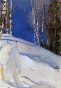 Hare in Snow Pekka Halonen (Finnish, Winter Landscape, Landscape Art, Landscape Paintings, Winter Painting, Winter Art, Scandinavian Paintings, Chur, Post Impressionism, Canadian Art