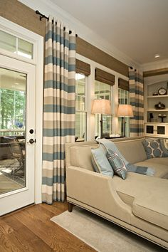 Soft green, khaki and cream striped drapes. #livingroom #home