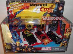 Johnny Lightning Marvel 2002 4 Car Box Set - Spiderman(2) -Wolverine-X-Men  #1